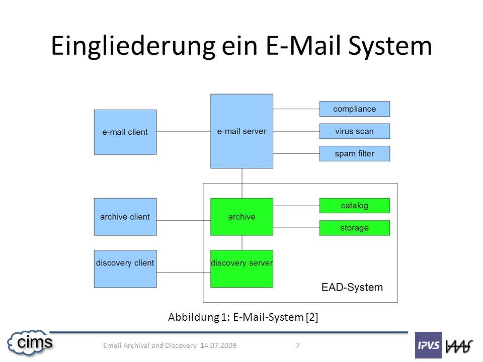 Email Archival and Discovery 14.07.2009 8 cims Einfügen der E-Mail Compliance und Discovery Suche und Retrieval Löschen der E-Mails Funktionale Anforderungen an ein EAD-System