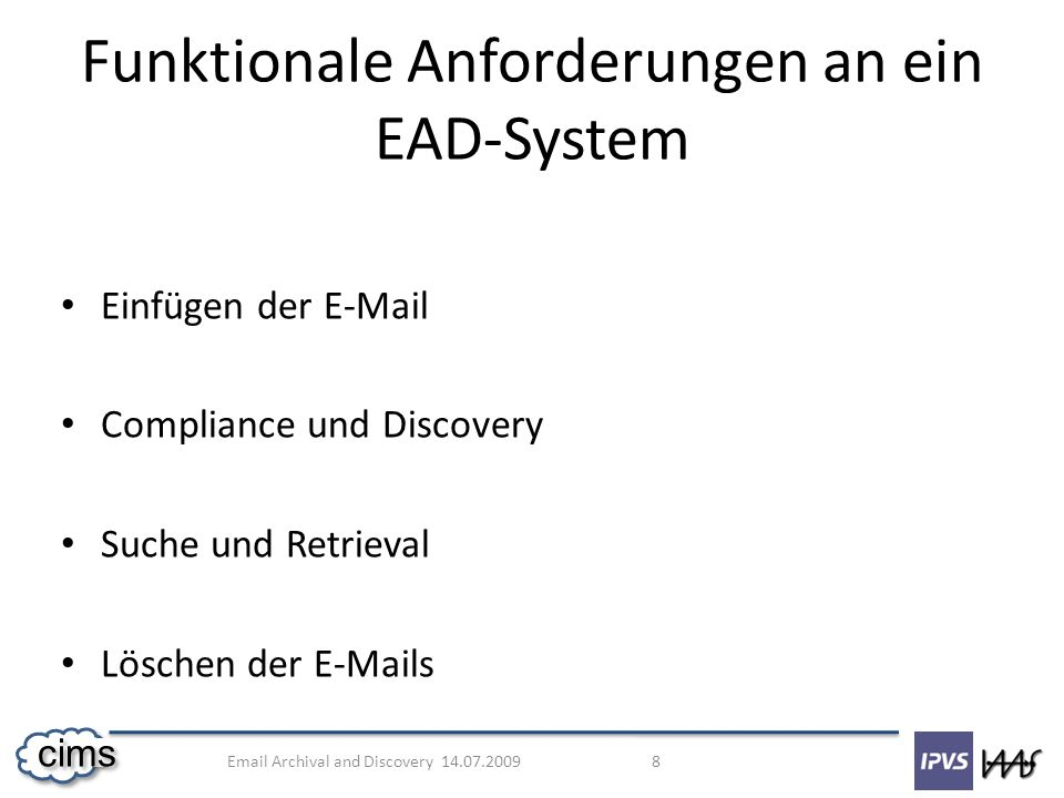 Email Archival and Discovery 14.07.2009 19 cims Messung Abbildung 8: Einfüge-Prozess-Messung [6]