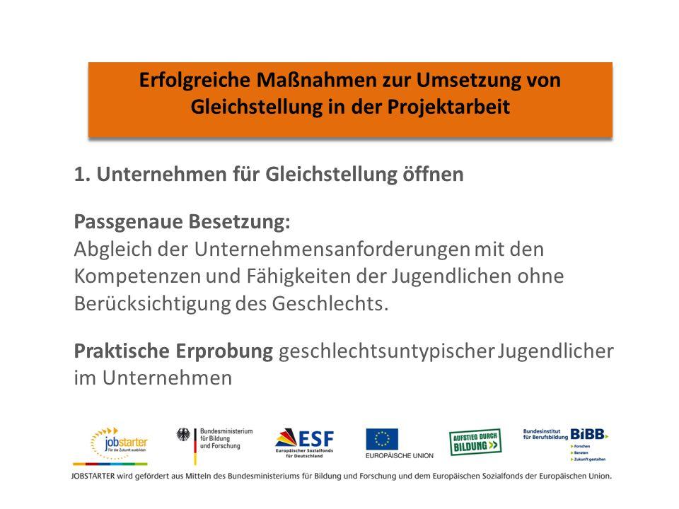 Erfolgreiche Maßnahmen zur Umsetzung von Gleichstellung in der Projektarbeit 1.