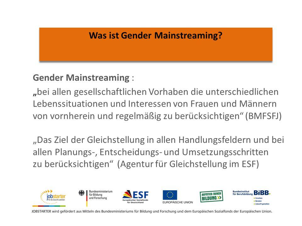 Gender Mainstreaming : bei allen gesellschaftlichen Vorhaben die unterschiedlichen Lebenssituationen und Interessen von Frauen und Männern von vornherein und regelmäßig zu berücksichtigen (BMFSFJ) Das Ziel der Gleichstellung in allen Handlungsfeldern und bei allen Planungs-, Entscheidungs- und Umsetzungsschritten zu berücksichtigen (Agentur für Gleichstellung im ESF) Was ist Gender Mainstreaming