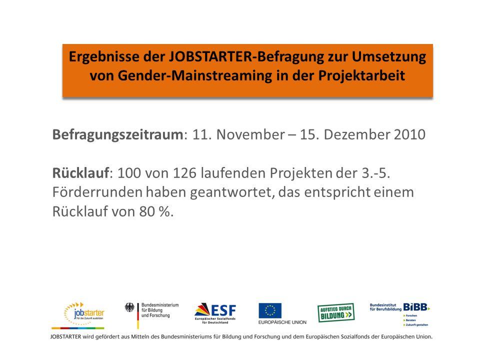 Ergebnisse der JOBSTARTER-Befragung zur Umsetzung von Gender-Mainstreaming in der Projektarbeit Befragungszeitraum: 11.