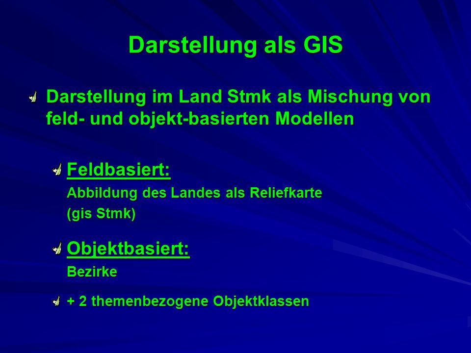 Darstellung als GIS Darstellung im Land Stmk als Mischung von feld- und objekt-basierten Modellen Feldbasiert: Abbildung des Landes als Reliefkarte (gis Stmk) Objektbasiert: Bezirke + 2 themenbezogene Objektklassen
