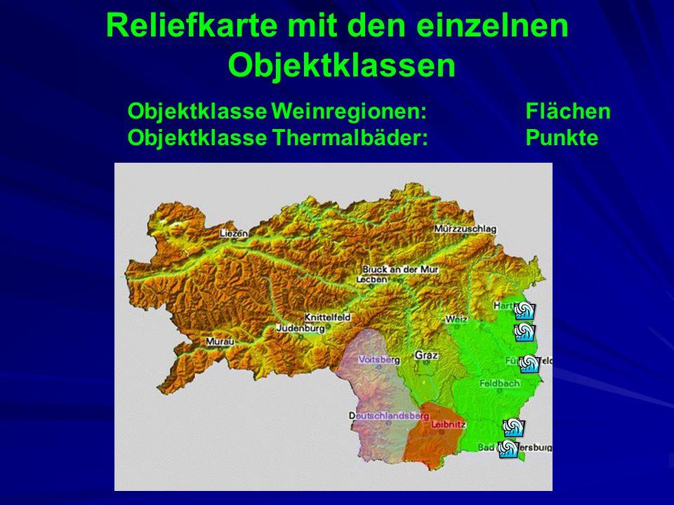 Darstellung als GIS Darstellung im Land Stmk als Mischung von feld- und objekt-basierten Modellen Feldbasiert: Abbildung des Landes als Reliefkarte (g
