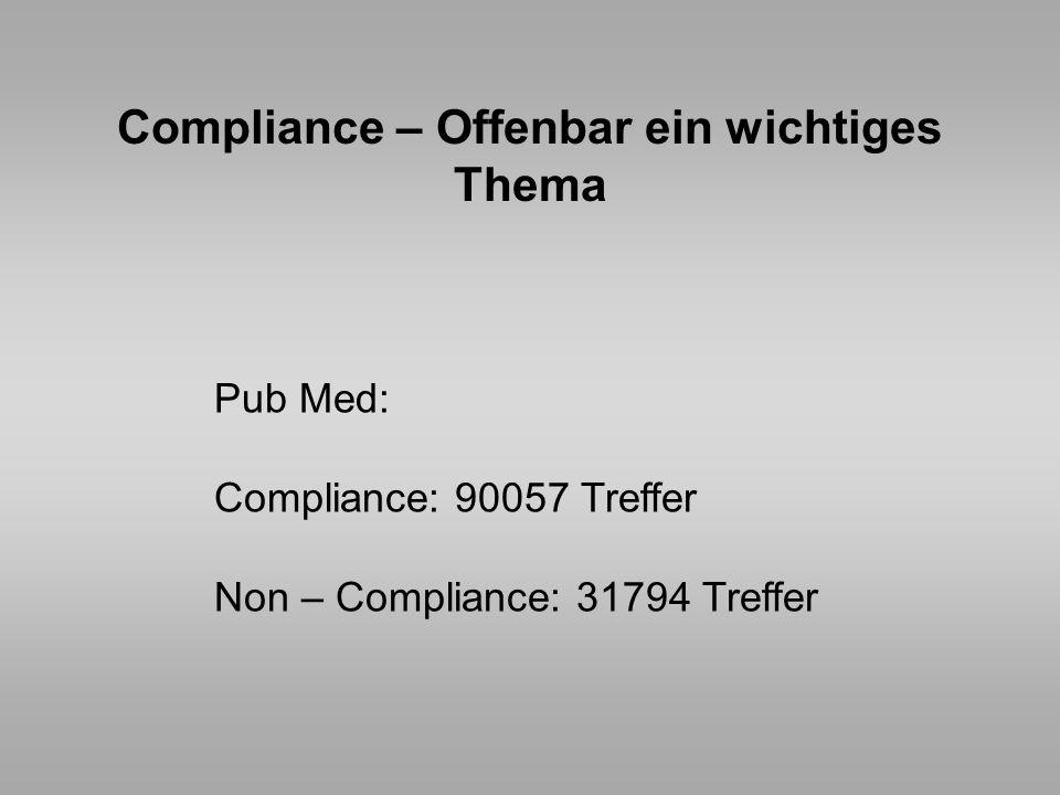 Compliance – Offenbar ein wichtiges Thema Pub Med: Compliance: 90057 Treffer Non – Compliance: 31794 Treffer