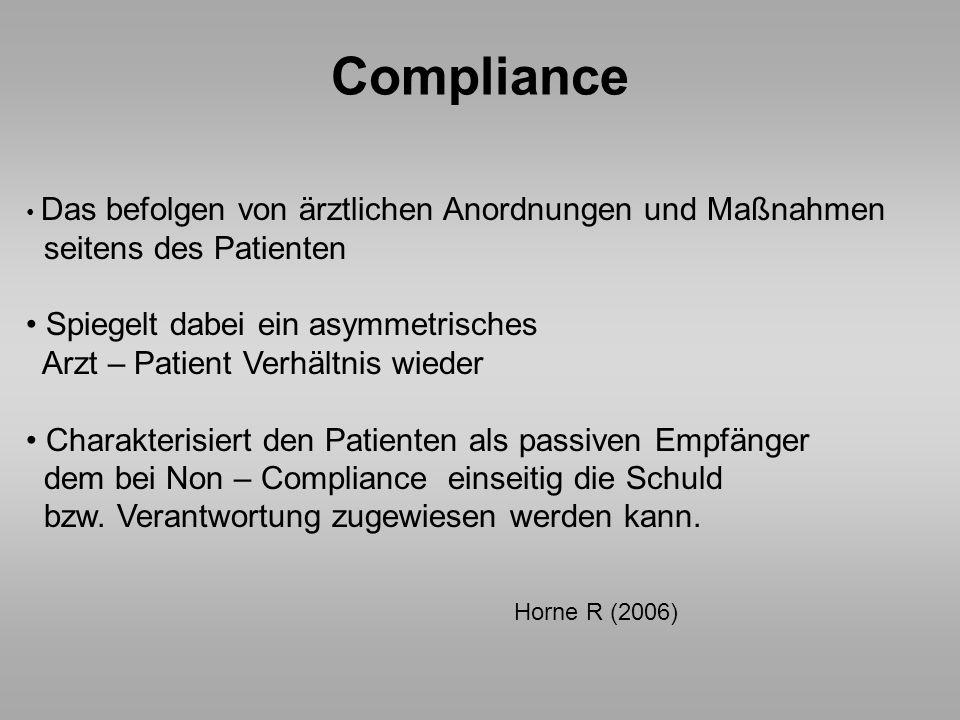 Compliance Das befolgen von ärztlichen Anordnungen und Maßnahmen seitens des Patienten Spiegelt dabei ein asymmetrisches Arzt – Patient Verhältnis wie
