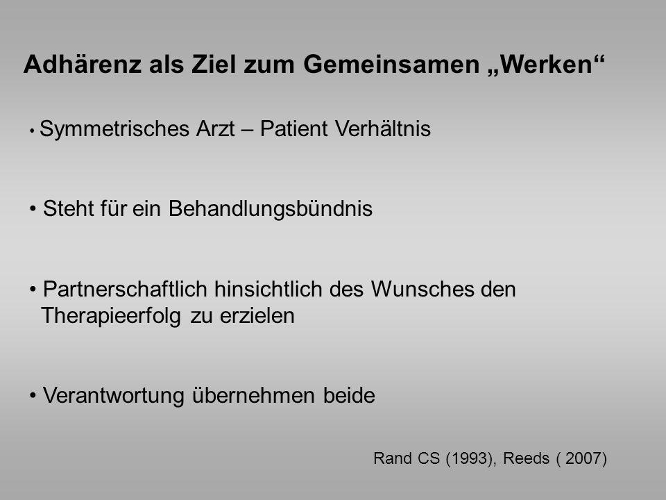 Rand CS (1993), Reeds ( 2007) Adhärenz als Ziel zum Gemeinsamen Werken Symmetrisches Arzt – Patient Verhältnis Steht für ein Behandlungsbündnis Partne