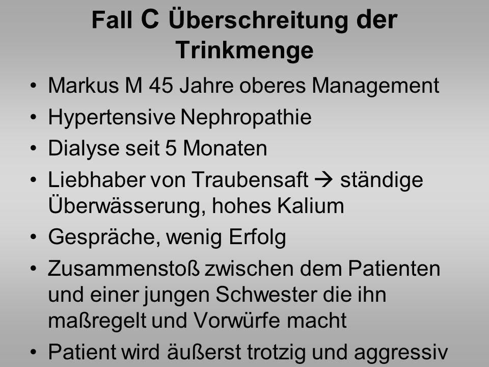 Fall C Überschreitung der Trinkmenge Markus M 45 Jahre oberes Management Hypertensive Nephropathie Dialyse seit 5 Monaten Liebhaber von Traubensaft st