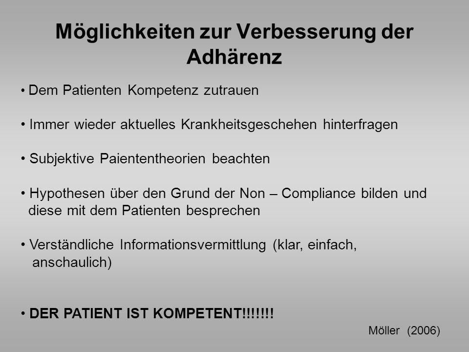 Möglichkeiten zur Verbesserung der Adhärenz Dem Patienten Kompetenz zutrauen Immer wieder aktuelles Krankheitsgeschehen hinterfragen Subjektive Paient