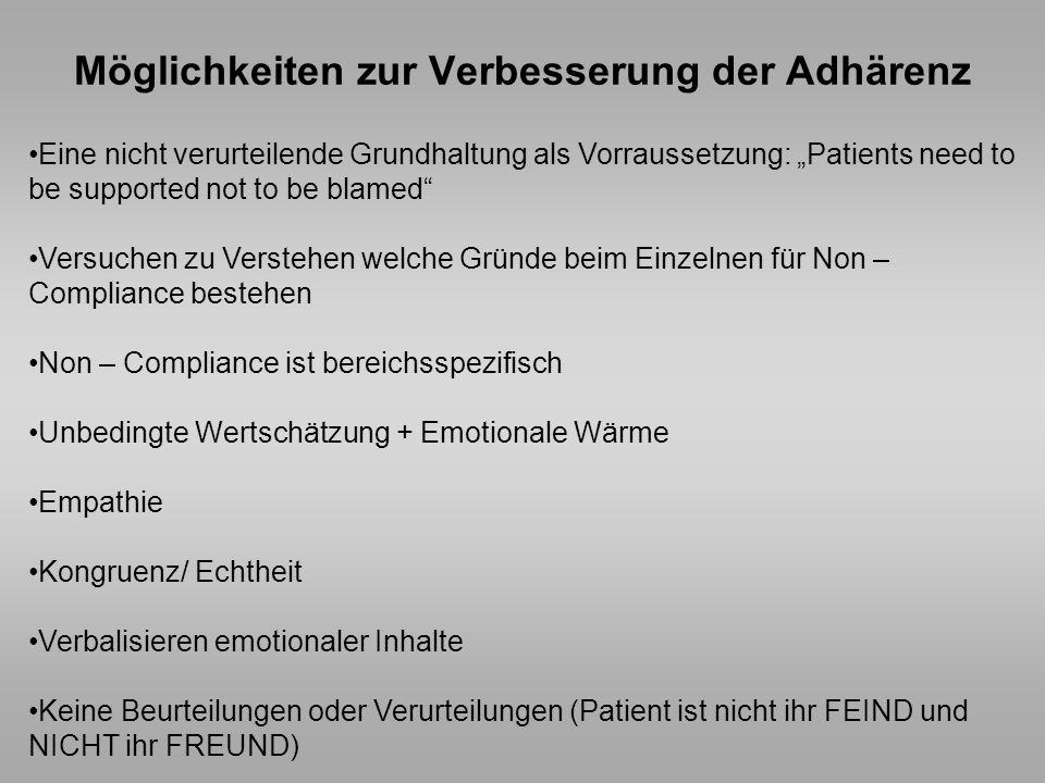 Möglichkeiten zur Verbesserung der Adhärenz Eine nicht verurteilende Grundhaltung als Vorraussetzung: Patients need to be supported not to be blamed V