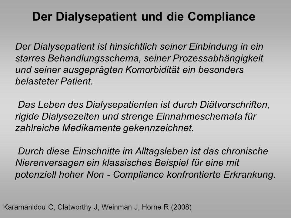 Der Dialysepatient ist hinsichtlich seiner Einbindung in ein starres Behandlungsschema, seiner Prozessabhängigkeit und seiner ausgeprägten Komorbiditä
