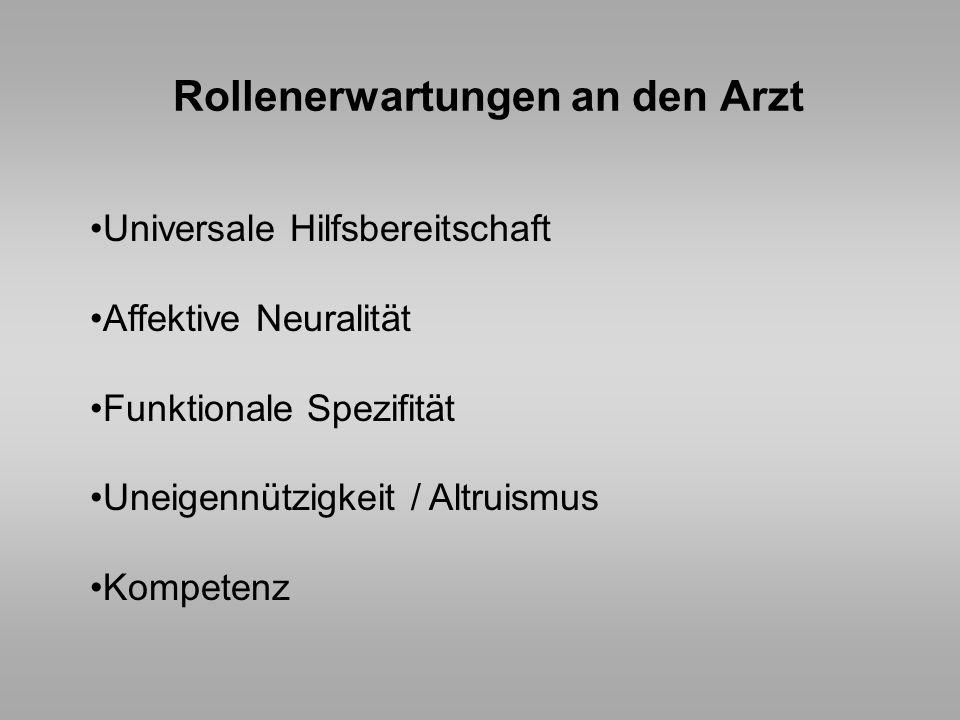 Rollenerwartungen an den Arzt Universale Hilfsbereitschaft Affektive Neuralität Funktionale Spezifität Uneigennützigkeit / Altruismus Kompetenz