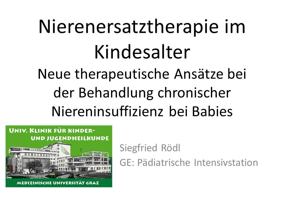 Nierenersatztherapie im Kindesalter Neue therapeutische Ansätze bei der Behandlung chronischer Niereninsuffizienz bei Babies Siegfried Rödl GE: Pädiat