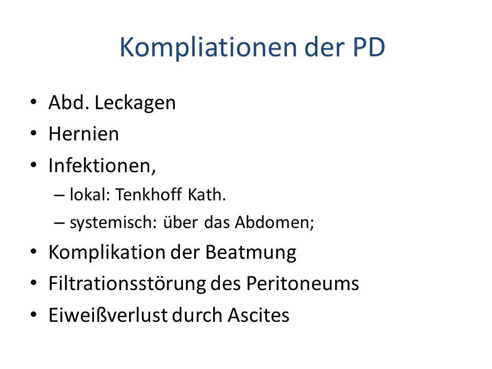 Kompliationen der PD Abd. Leckagen Hernien Infektionen, – lokal: Tenkhoff Kath. – systemisch: über das Abdomen; Komplikation der Beatmung Filtrationss