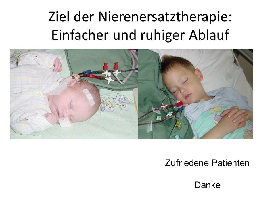 Ziel der Nierenersatztherapie: Einfacher und ruhiger Ablauf Zufriedene Patienten Danke
