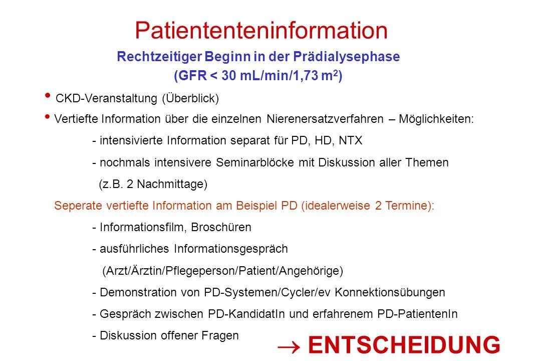 Patiententeninformation CKD-Veranstaltung (Überblick) Vertiefte Information über die einzelnen Nierenersatzverfahren – Möglichkeiten: - intensivierte Information separat für PD, HD, NTX - nochmals intensivere Seminarblöcke mit Diskussion aller Themen (z.B.