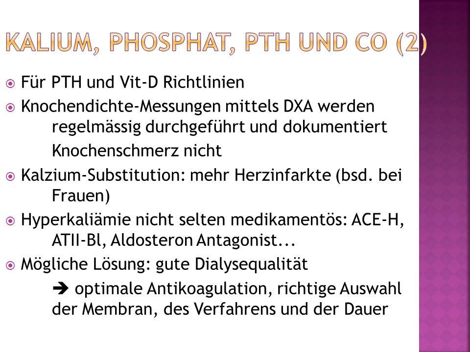Für PTH und Vit-D Richtlinien Knochendichte-Messungen mittels DXA werden regelmässig durchgeführt und dokumentiert Knochenschmerz nicht Kalzium-Substi