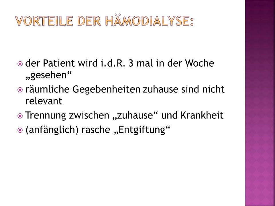 Große Abhängigkeit: 3x Woche Behandlung in einem Dialysezentrum Zugang: Shunt Operation / Katheter Infektion Punktion des Shunts (schmerzhaft) Kreislaufprobleme bei größeren Gewichtsschwankungen zwischen den Dialysen schneller Rückgang der Eigendiurese punktuelle Entgiftung (Zick-Zack Kurs)