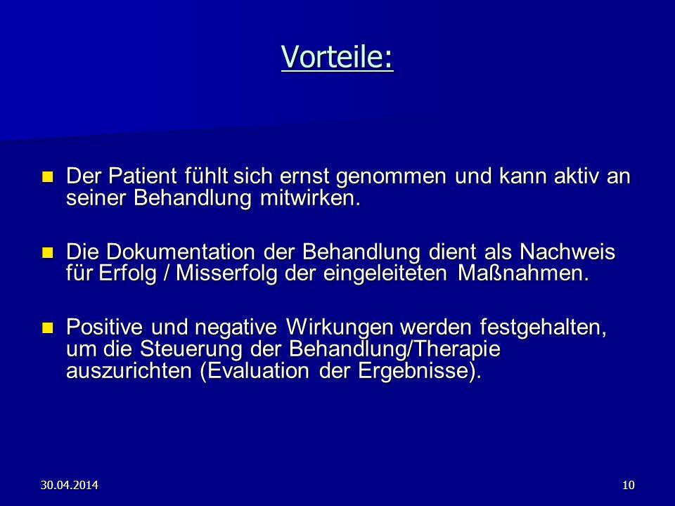 30.04.201410 Der Patient fühlt sich ernst genommen und kann aktiv an seiner Behandlung mitwirken. Der Patient fühlt sich ernst genommen und kann aktiv