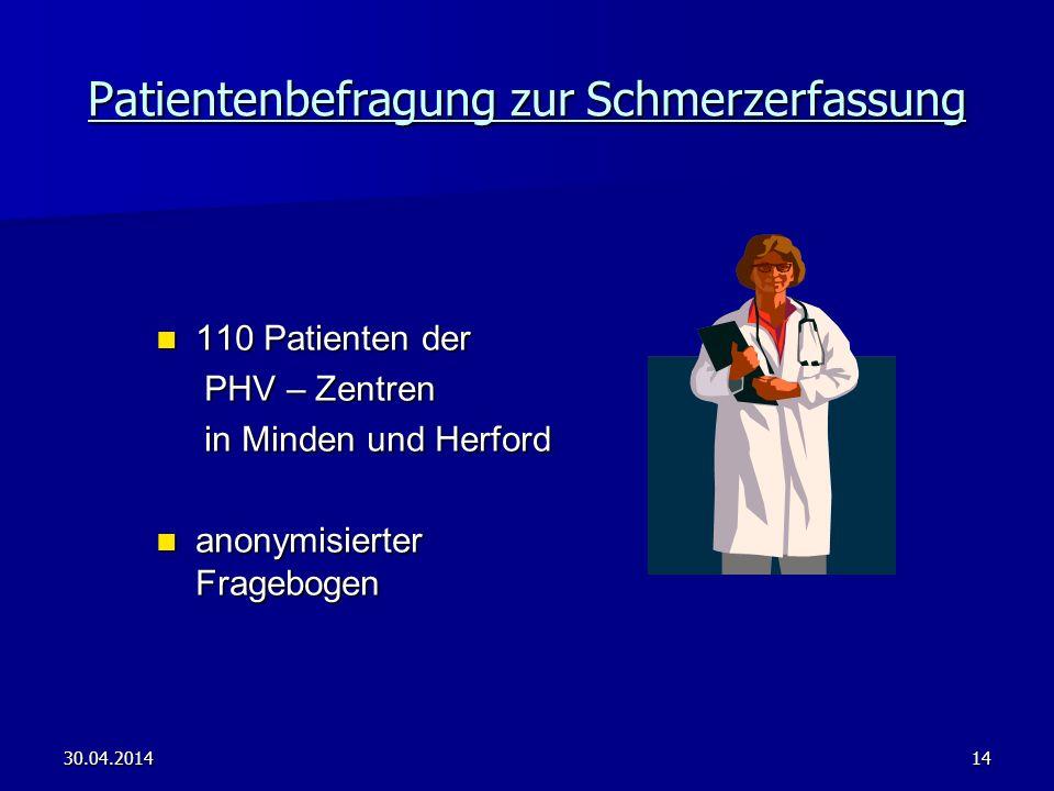 30.04.201414 Patientenbefragung zur Schmerzerfassung 110 Patienten der 110 Patienten der PHV – Zentren PHV – Zentren in Minden und Herford in Minden u