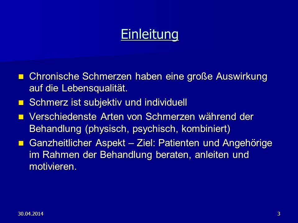 30.04.20144 Hauptthemen 1.Vorraussetzungen und Vorteile eines Schmerzmanagements 2.
