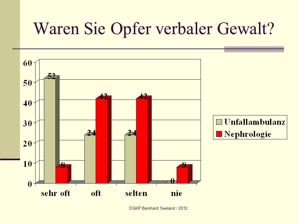 DGKP Bernhard Seeland / 2012 Waren Sie Opfer verbaler Gewalt?