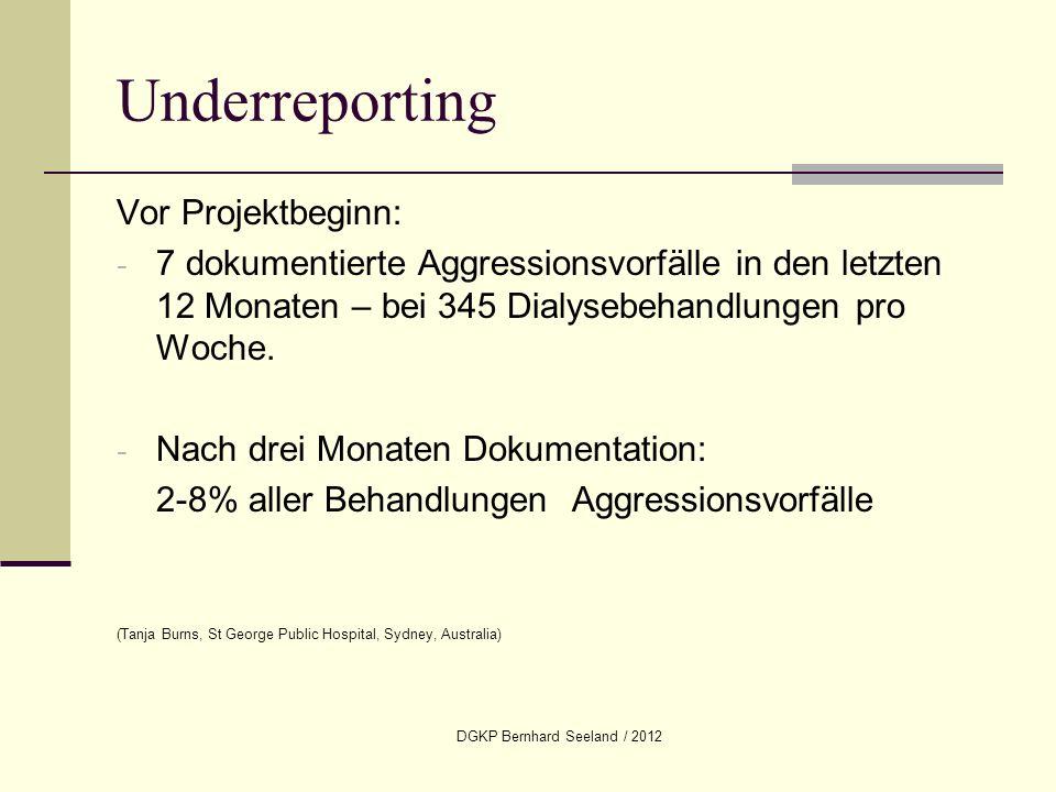 DGKP Bernhard Seeland / 2012 Underreporting Vor Projektbeginn: - 7 dokumentierte Aggressionsvorfälle in den letzten 12 Monaten – bei 345 Dialysebehand