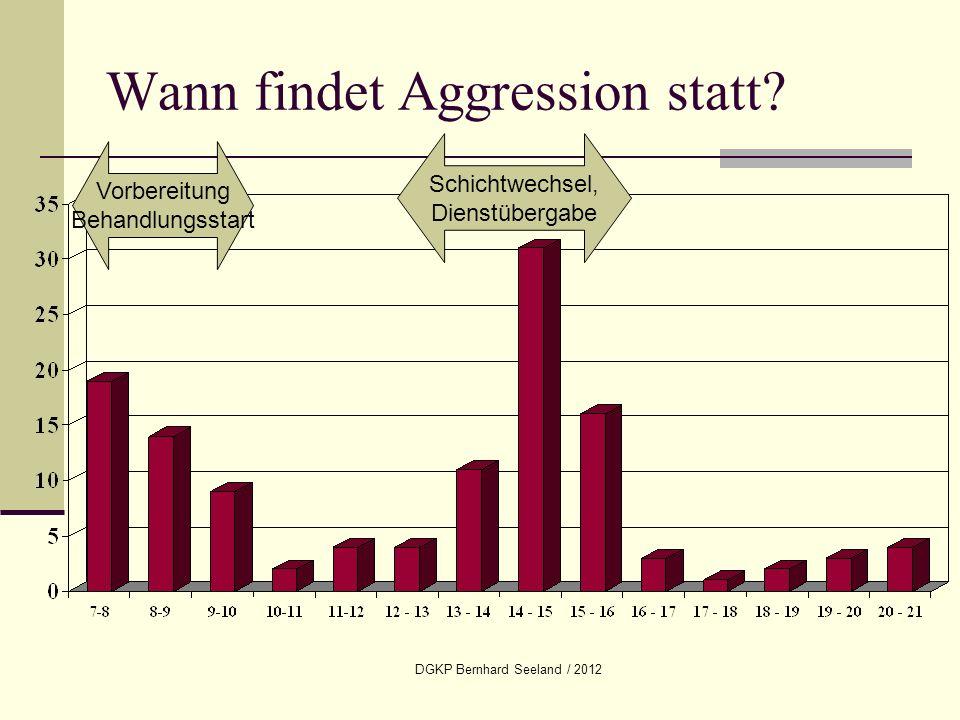 DGKP Bernhard Seeland / 2012 Wann findet Aggression statt? Vorbereitung Behandlungsstart Schichtwechsel, Dienstübergabe
