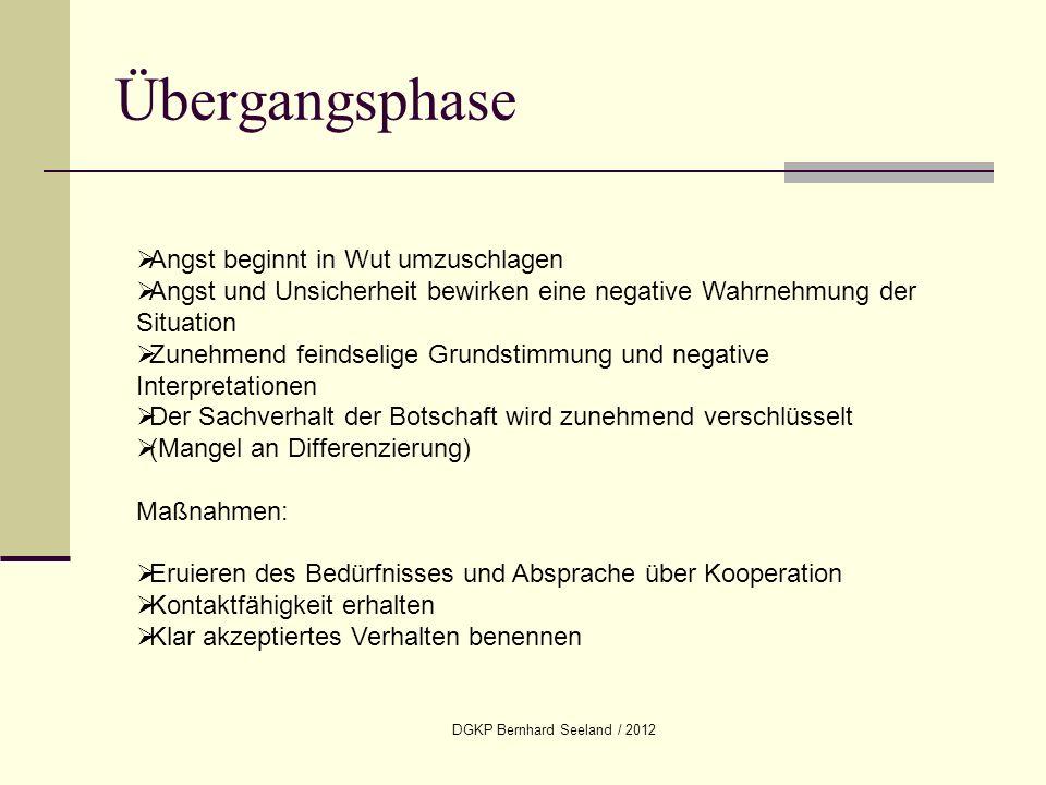 DGKP Bernhard Seeland / 2012 Übergangsphase Angst beginnt in Wut umzuschlagen Angst und Unsicherheit bewirken eine negative Wahrnehmung der Situation