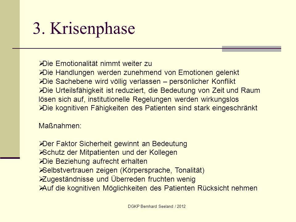 DGKP Bernhard Seeland / 2012 3. Krisenphase Die Emotionalität nimmt weiter zu Die Handlungen werden zunehmend von Emotionen gelenkt Die Sachebene wird