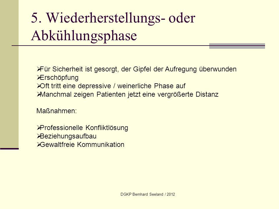 DGKP Bernhard Seeland / 2012 5. Wiederherstellungs- oder Abkühlungsphase Für Sicherheit ist gesorgt, der Gipfel der Aufregung überwunden Erschöpfung O