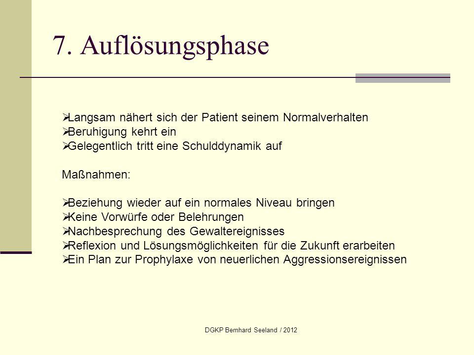 DGKP Bernhard Seeland / 2012 7. Auflösungsphase Langsam nähert sich der Patient seinem Normalverhalten Beruhigung kehrt ein Gelegentlich tritt eine Sc