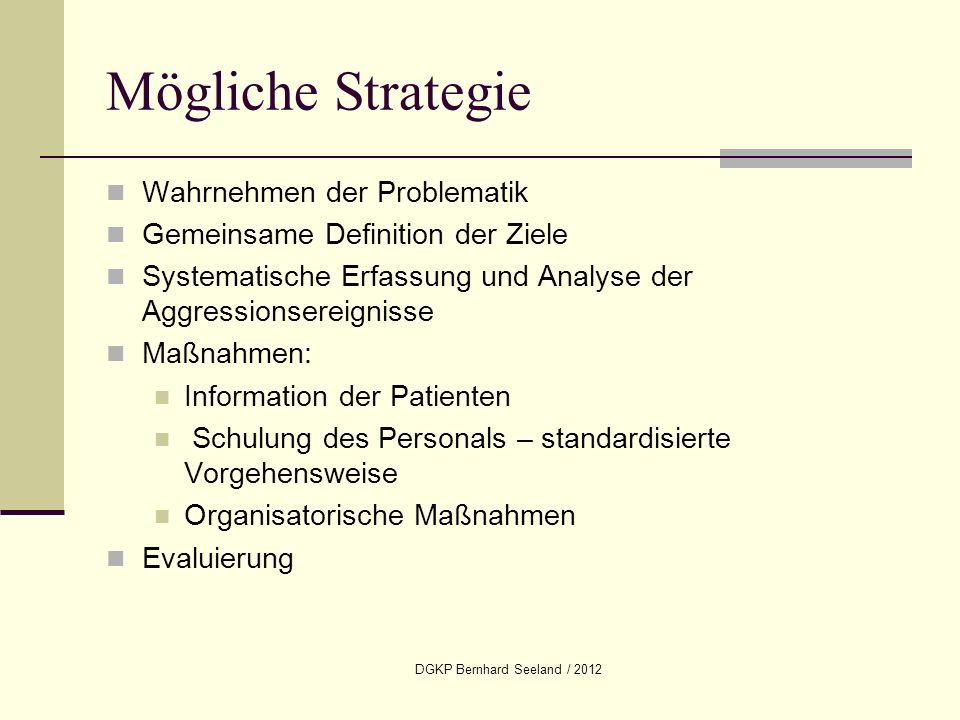DGKP Bernhard Seeland / 2012 Mögliche Strategie Wahrnehmen der Problematik Gemeinsame Definition der Ziele Systematische Erfassung und Analyse der Agg