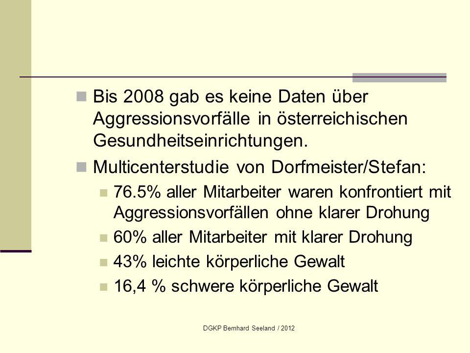DGKP Bernhard Seeland / 2012 Bis 2008 gab es keine Daten über Aggressionsvorfälle in österreichischen Gesundheitseinrichtungen. Multicenterstudie von