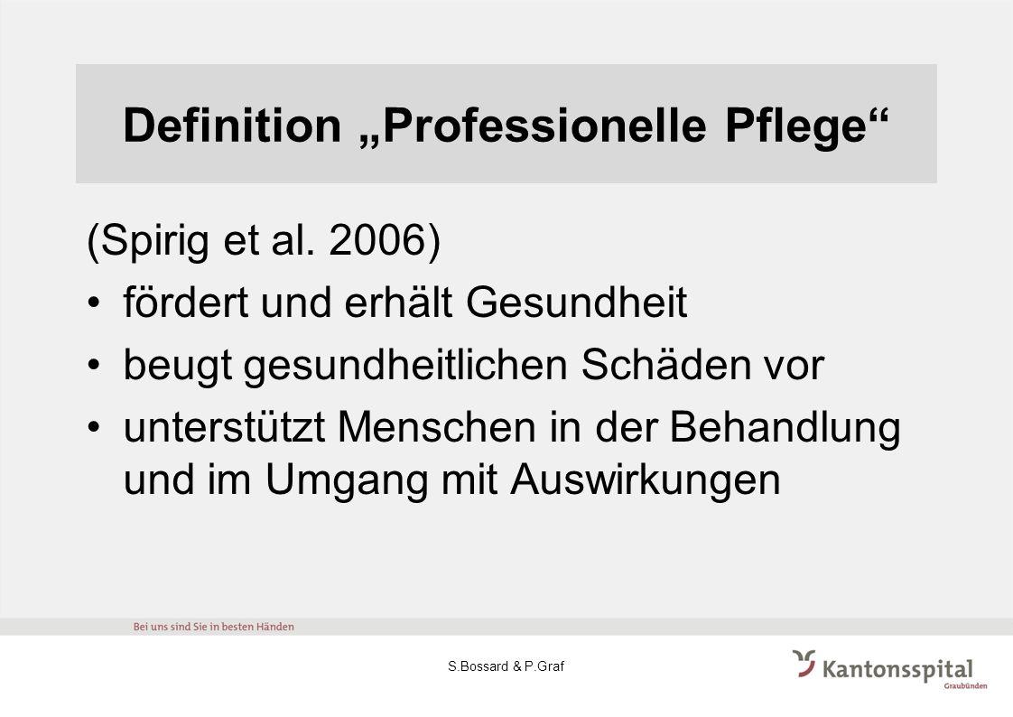 Definition Professionelle Pflege (Spirig et al. 2006) fördert und erhält Gesundheit beugt gesundheitlichen Schäden vor unterstützt Menschen in der Beh