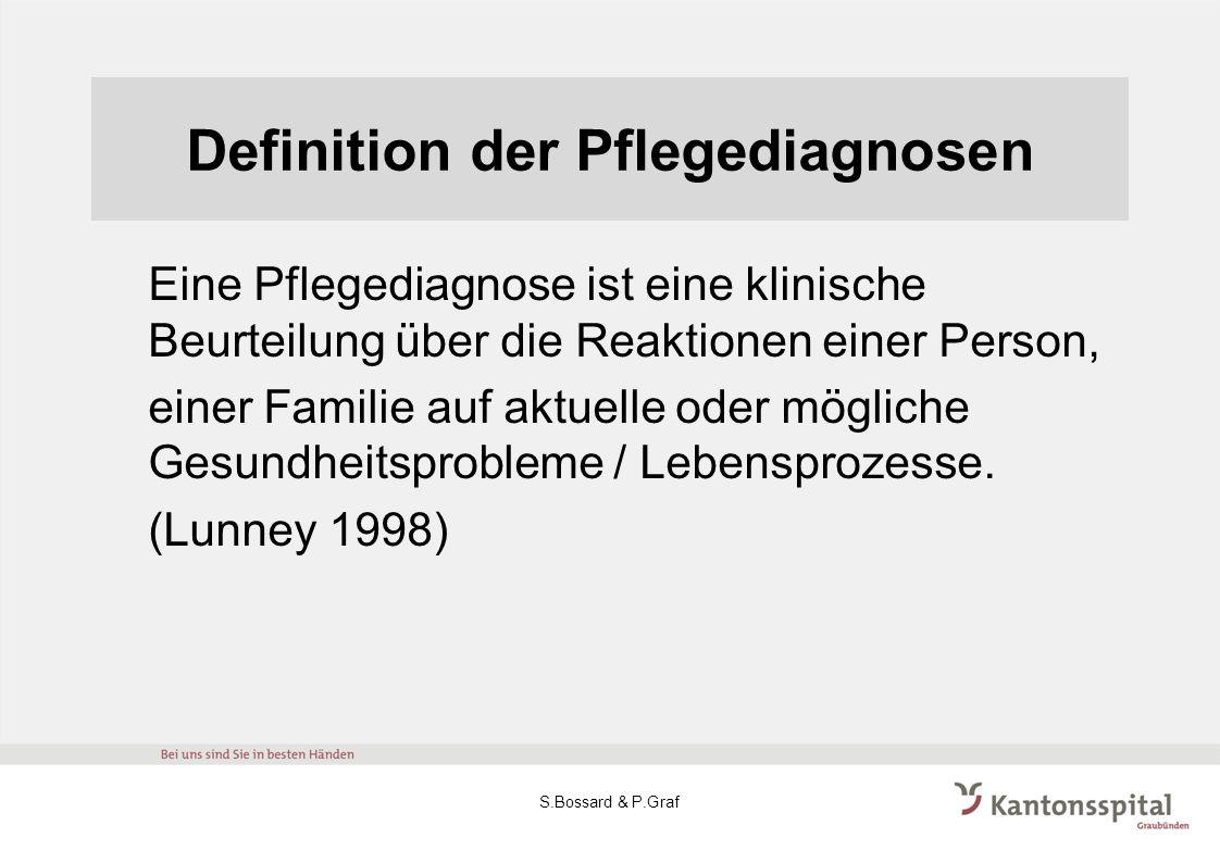 Definition der Pflegediagnosen Eine Pflegediagnose ist eine klinische Beurteilung über die Reaktionen einer Person, einer Familie auf aktuelle oder mö