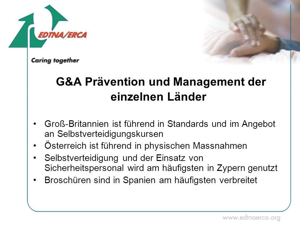 G&A Prävention und Management der einzelnen Länder Groß-Britannien ist führend in Standards und im Angebot an Selbstverteidigungskursen Österreich ist
