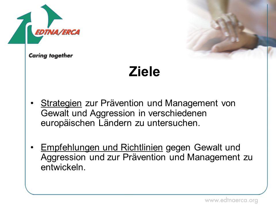 Ziele Strategien zur Prävention und Management von Gewalt und Aggression in verschiedenen europäischen Ländern zu untersuchen. Empfehlungen und Richtl