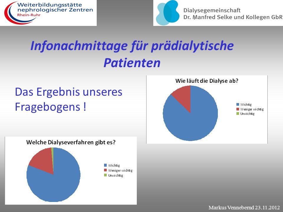 Infonachmittage für prädialytische Patienten Der Fragebogen Welche Dialyseverfahren gibt es ? Wie wird das Gerät an mir angeschlossen ? Wichtig? Wenig