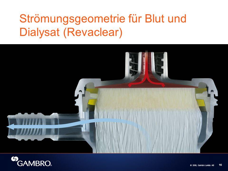 © 2008, Gambro Lundia AB 16 Strömungsgeometrie für Blut und Dialysat (Revaclear)