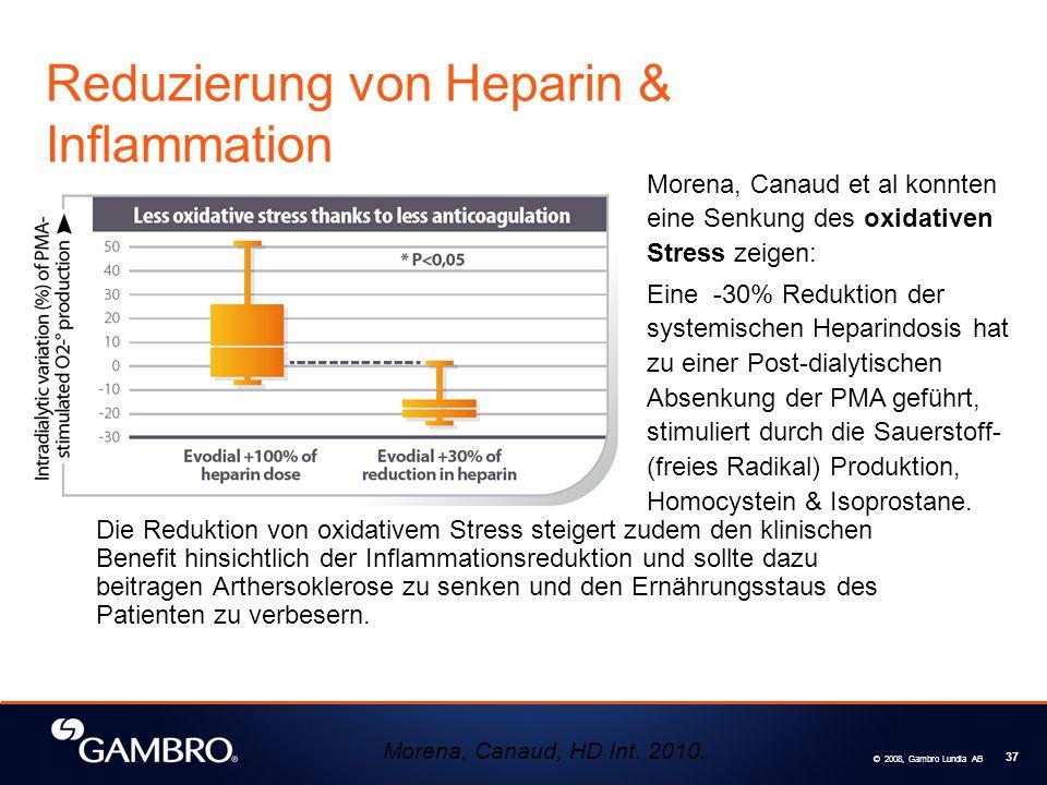 © 2008, Gambro Lundia AB 37 Die Reduktion von oxidativem Stress steigert zudem den klinischen Benefit hinsichtlich der Inflammationsreduktion und sollte dazu beitragen Arthersoklerose zu senken und den Ernährungsstaus des Patienten zu verbesern.