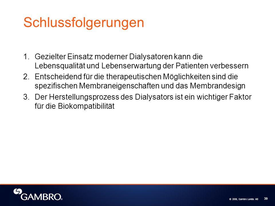 © 2008, Gambro Lundia AB 39 Schlussfolgerungen 1.Gezielter Einsatz moderner Dialysatoren kann die Lebensqualität und Lebenserwartung der Patienten verbessern 2.Entscheidend für die therapeutischen Möglichkeiten sind die spezifischen Membraneigenschaften und das Membrandesign 3.Der Herstellungsprozess des Dialysators ist ein wichtiger Faktor für die Biokompatibilität
