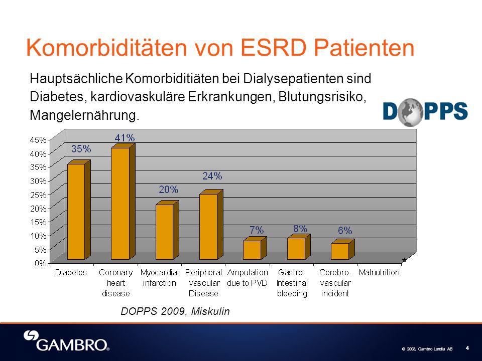 © 2008, Gambro Lundia AB 4 DOPPS 2009, Miskulin Hauptsächliche Komorbiditiäten bei Dialysepatienten sind Diabetes, kardiovaskuläre Erkrankungen, Blutungsrisiko, Mangelernährung.