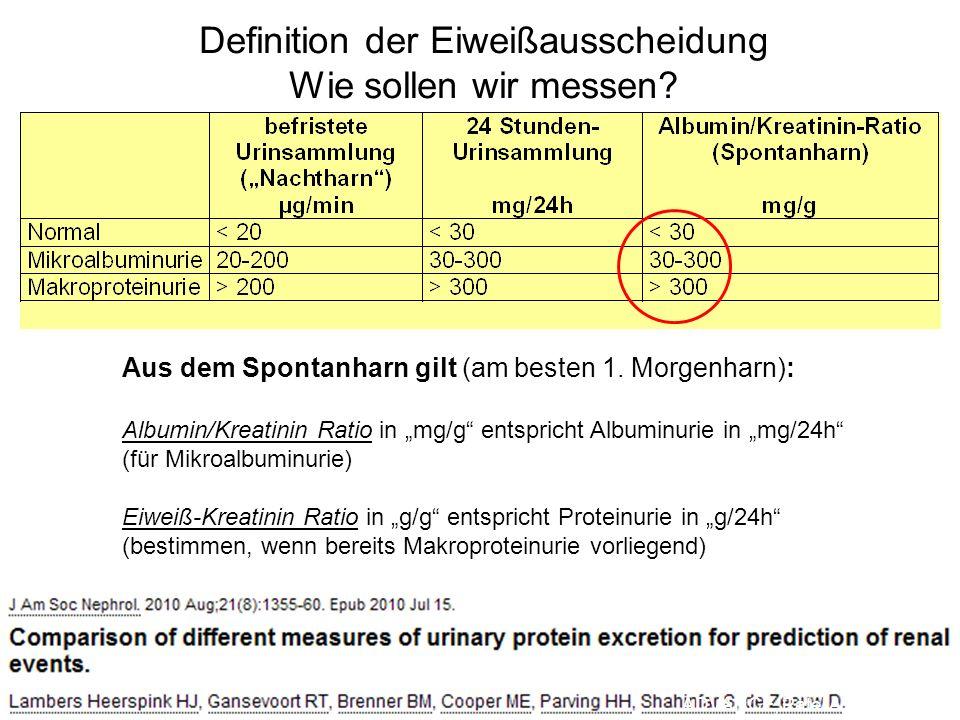 Definition der Eiweißausscheidung Wie sollen wir messen? Aus dem Spontanharn gilt (am besten 1. Morgenharn): Albumin/Kreatinin Ratio in mg/g entsprich