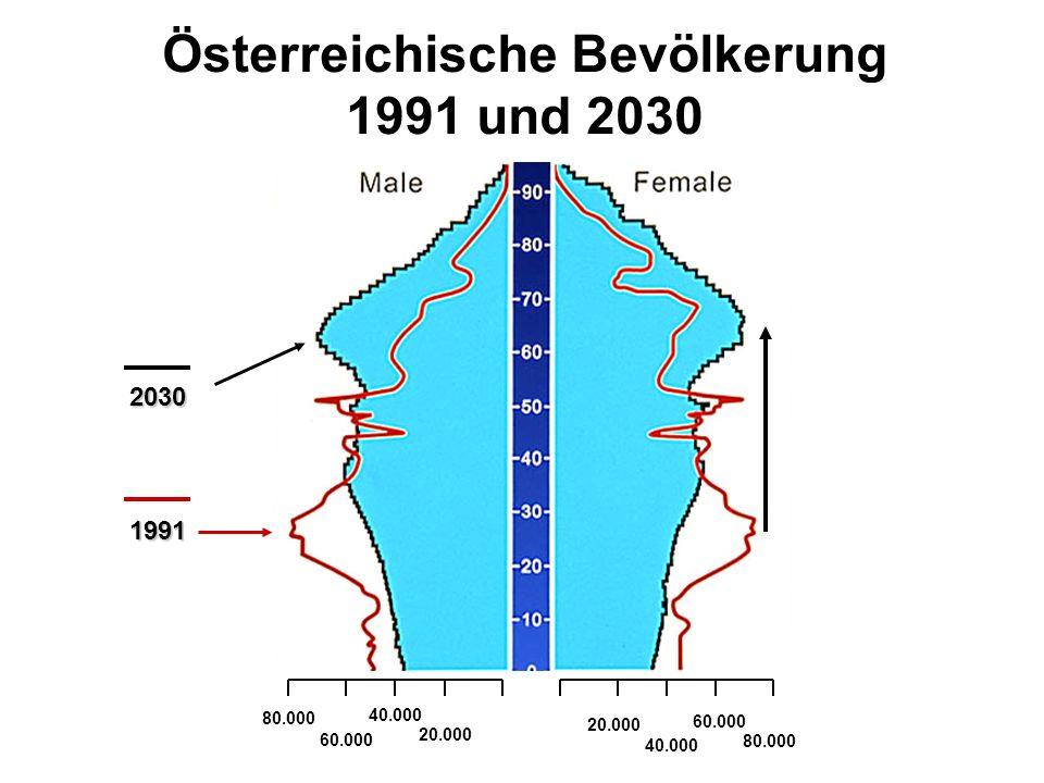 Österreichische Bevölkerung 1991 und 2030 80.000 60.000 40.000 20.000 40.000 60.000 80.000 1991 2030