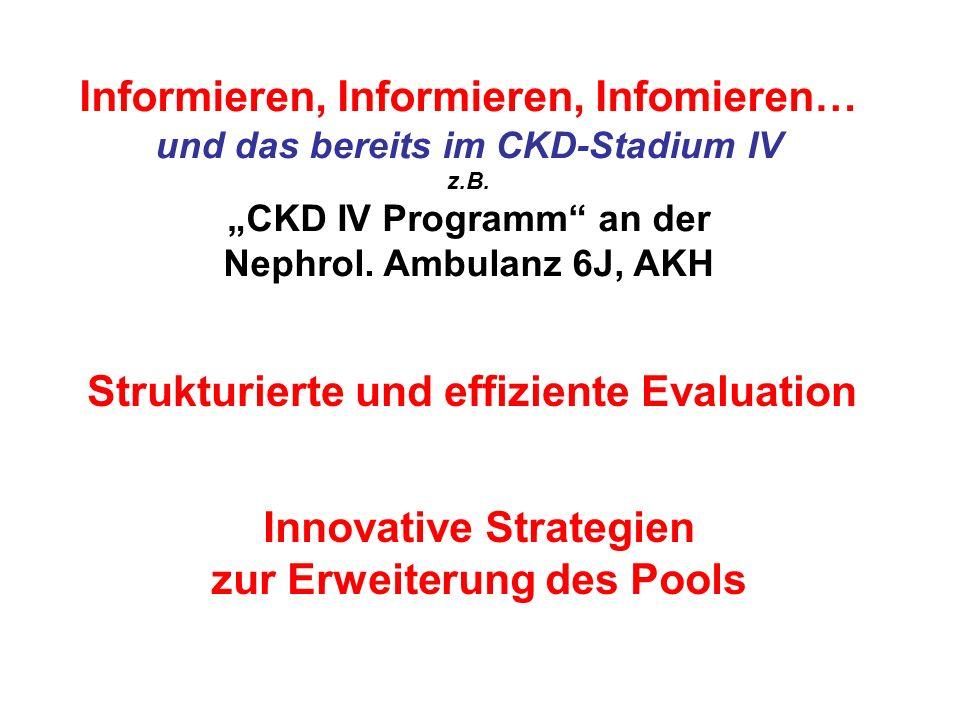 Informieren, Informieren, Infomieren… und das bereits im CKD-Stadium IV z.B. CKD IV Programm an der Nephrol. Ambulanz 6J, AKH Strukturierte und effizi