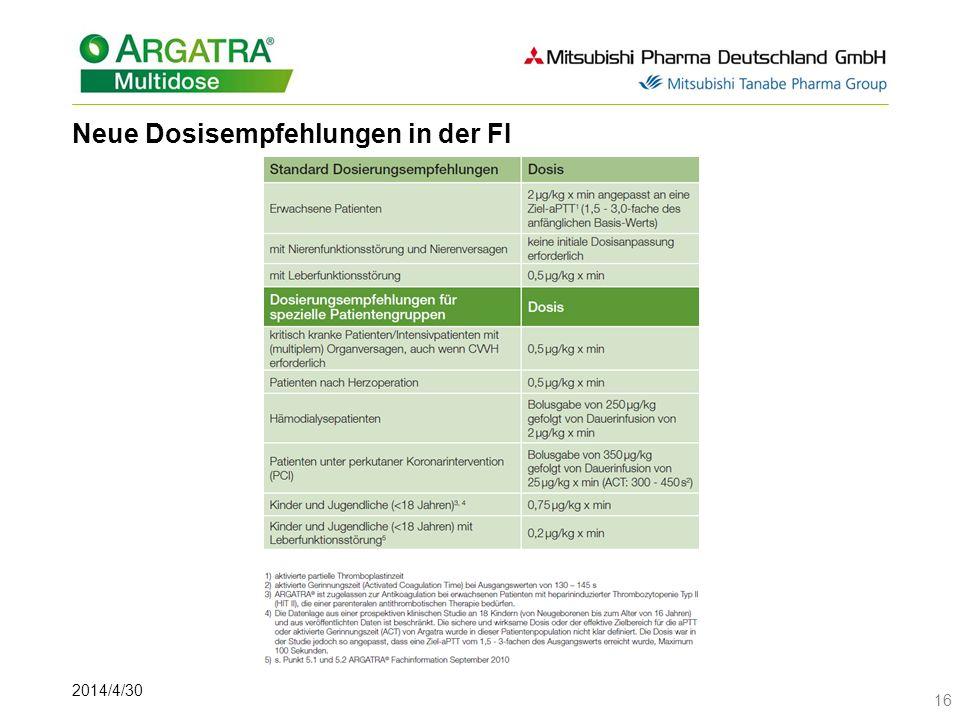 2014/4/30 16 Neue Dosisempfehlungen in der FI