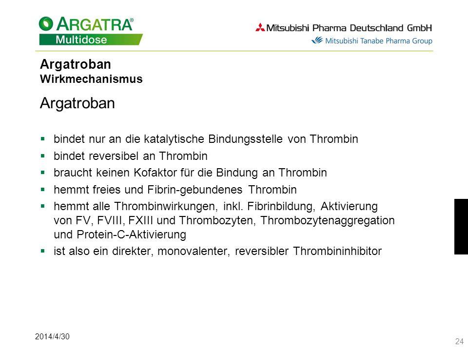 2014/4/30 24 Argatroban Wirkmechanismus Argatroban bindet nur an die katalytische Bindungsstelle von Thrombin bindet reversibel an Thrombin braucht keinen Kofaktor für die Bindung an Thrombin hemmt freies und Fibrin-gebundenes Thrombin hemmt alle Thrombinwirkungen, inkl.