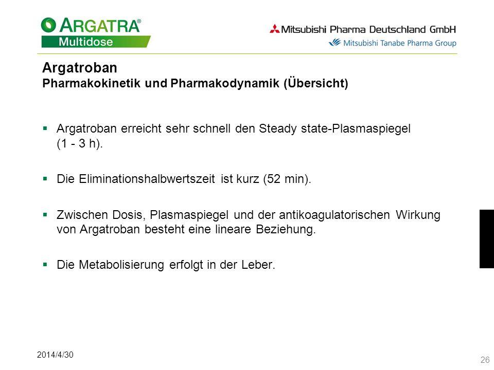 2014/4/30 26 Argatroban Pharmakokinetik und Pharmakodynamik (Übersicht) Argatroban erreicht sehr schnell den Steady state-Plasmaspiegel (1 - 3 h). Die