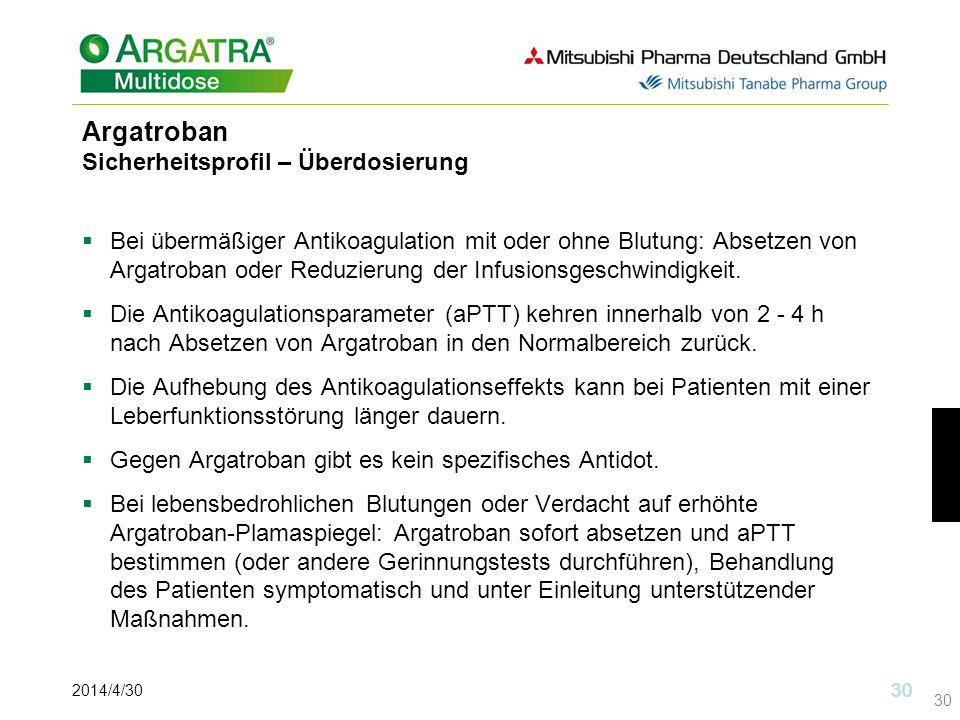 2014/4/30 30 Argatroban Sicherheitsprofil – Überdosierung Bei übermäßiger Antikoagulation mit oder ohne Blutung: Absetzen von Argatroban oder Reduzierung der Infusionsgeschwindigkeit.