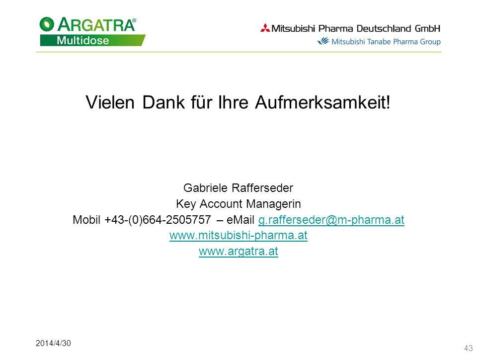 2014/4/30 43 Vielen Dank für Ihre Aufmerksamkeit! Gabriele Rafferseder Key Account Managerin Mobil +43-(0)664-2505757 – eMail g.rafferseder@m-pharma.a